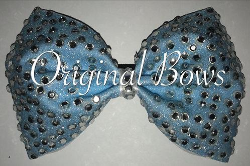 Sky Blue Rhinestone tailless Glitter Cheer Bow