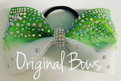 Ombre Tailless Glitter Rhinestone Cheer Bow