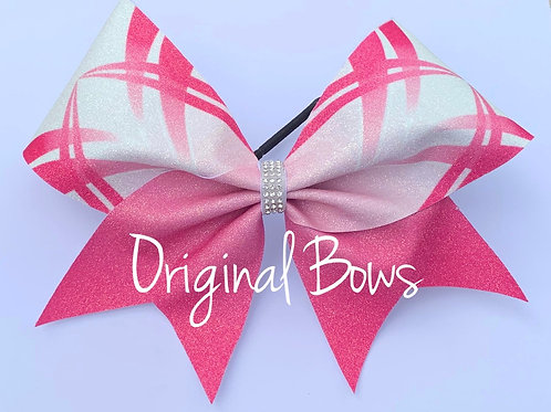 Pink and White Glitter Breast Cancer Awareness Bow