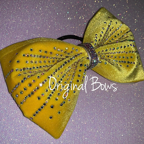"Yellow Velvet 4"" Tailless Starburst Rhinestone Cheer Bow"
