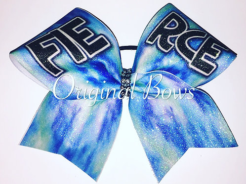 Blue Tie Dye FIERCE Cheer Bow