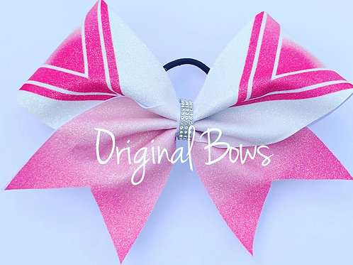 PINK V Ombre Glitter Cheer Bow