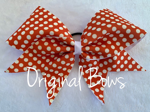 Orange and White Polka Dots Fabric Cheer Bow