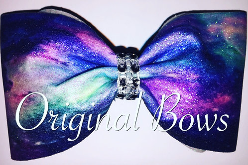 Blue Purple Galaxy Glitter Tailless Cheer Bow