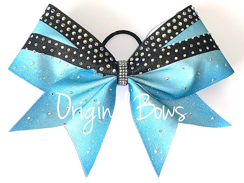 Blue and Black Glitter Rhinestone Cheer Bow