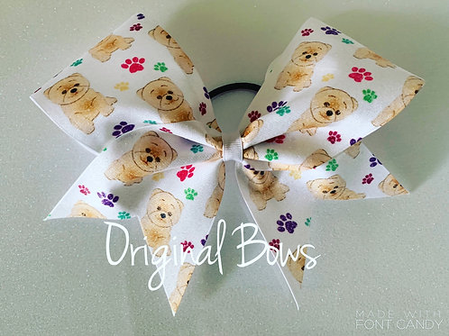Teddy Bear Dog Glitter Cheer Bow