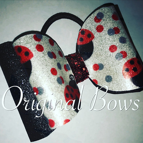 Lady Bugs Red Black and White Shimmer Glitter Double Bow