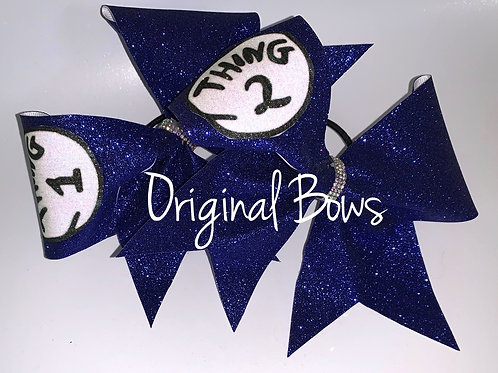 Thing ONE Thing TWO Blue Glitter Cheer Bow Set