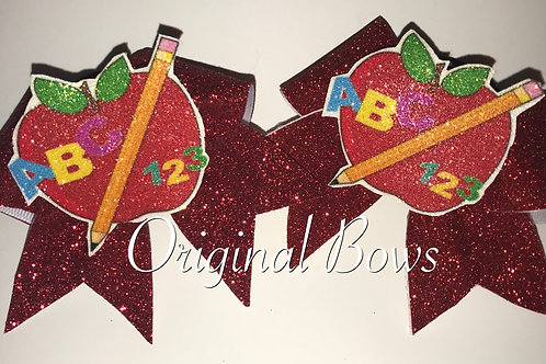Back to School Apple Red Pigtail Mini Bows