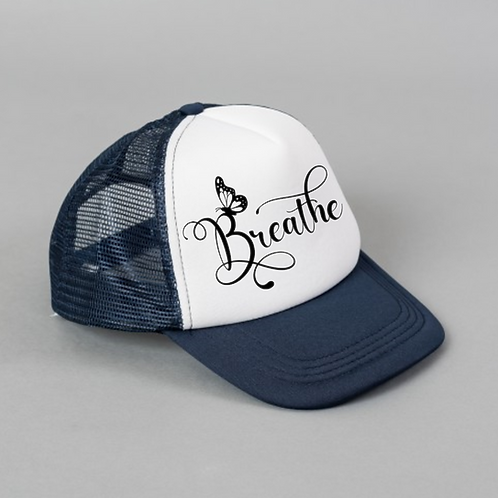 Breathe Butterfly Black White Hat