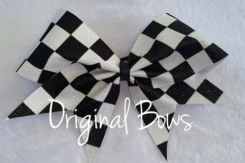 Black and White Checkered Glitter Cheer Bow