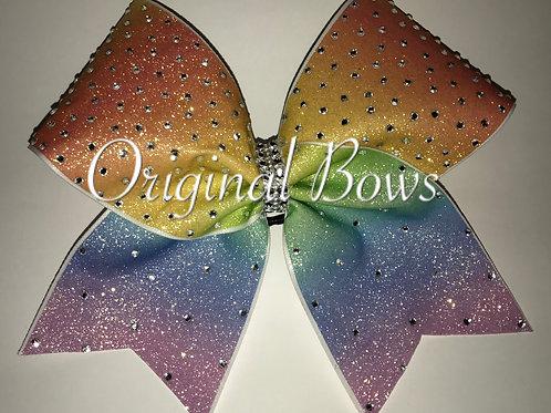 Rainbow Ombre Glitter Rhinestone Cheer Bow