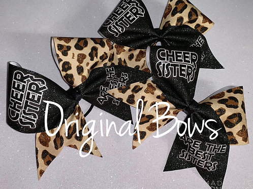 Cheer Sisters Leopard Glitter Cheer Bow