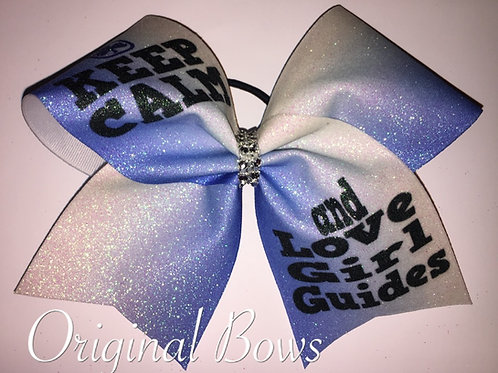 Keep Calm and Love Girl Guides Blue Ombre Glitter Cheer Bow