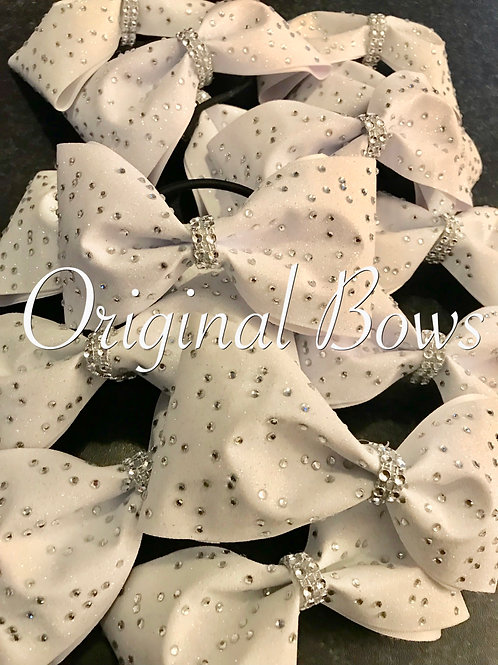 White tailless glitter cheer Bows
