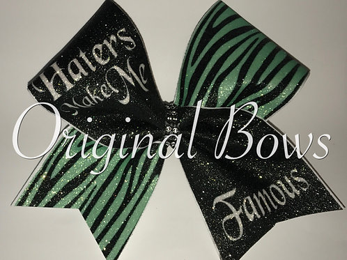 Haters Make Me FAMOUS Teal Zebra Glitter Cheer Bow