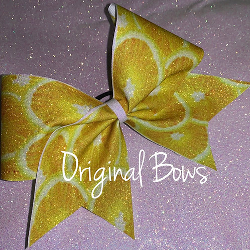 Lemon Lemonade Yellow Glitter Cheer Bow
