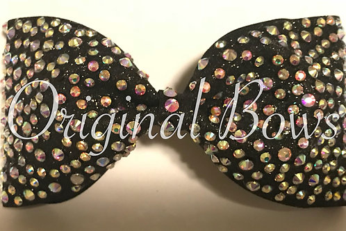 Tailless Black Glitter AB gem stone Bow