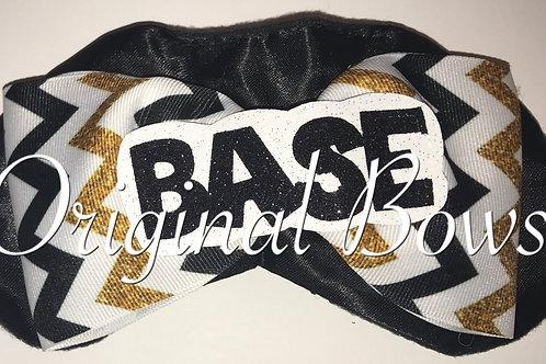 BASE gold white black Chevron Cheer Bow Sleep Mask