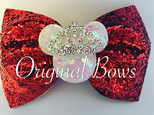 """Mouse Royal Red Glitter Tailless 4"""" Bow"""