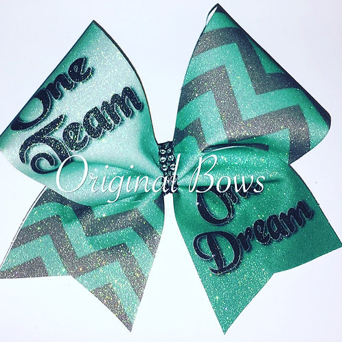 One Team One Dream Teal Grey Chevron Cheer Bow