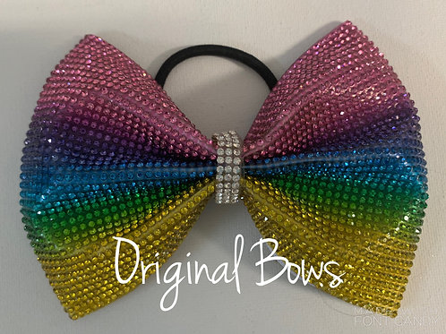 Love is Love Rhinestone Rainbow Bling Bow
