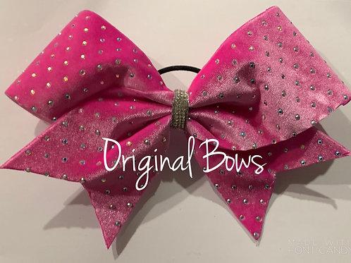 Pink Velvet Rhinestone Bow