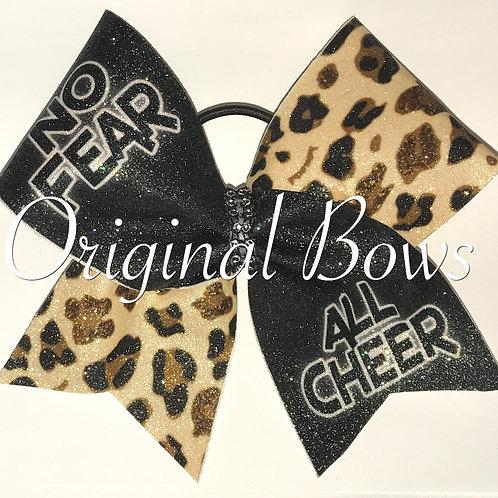 No Fear All Cheer leopard glitter Bow