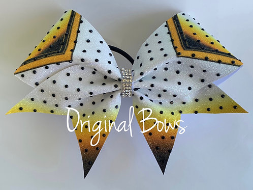 Bumble Bee Ombré Black and Yellow Gemstone Glitter Bow