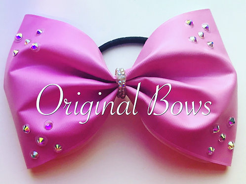 "PINK Pleather Bubblegum  Vinyl Crystal 4"" Tailless Bow"