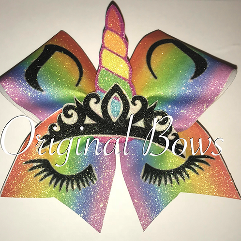 Unicorn Princess Rainbow Glitter Cheer Bow