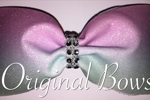 Pink & Teal Ombre Glitter Tailless Cheer Bow