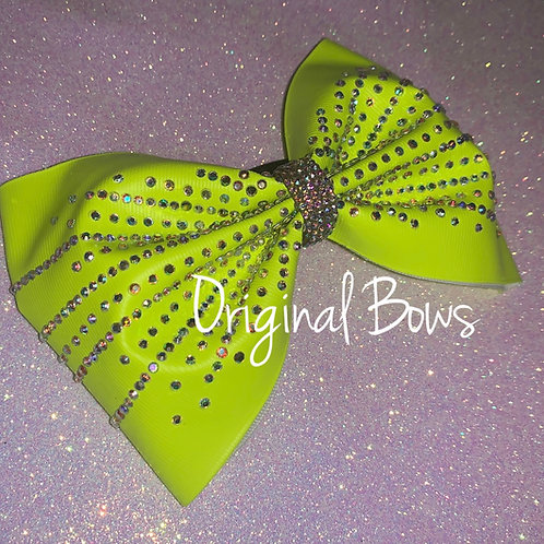 "Neon Yellow 4"" Tailless Rhinestone Cheer Bow"