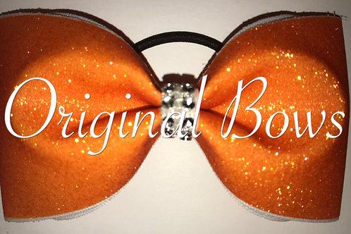 Orange Glitter Tailless Cheer Bow