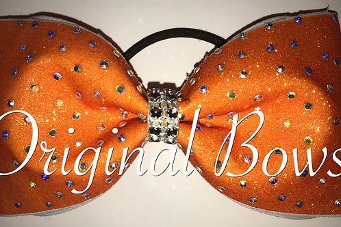 Orange Glitter gem stone Tailless Cheer Bow