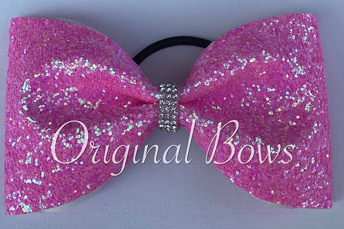 Pink  chunky Glitter Tailless Bow