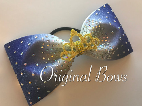 Blue & White Ombre Rhinestone Glitter Tailless Bow