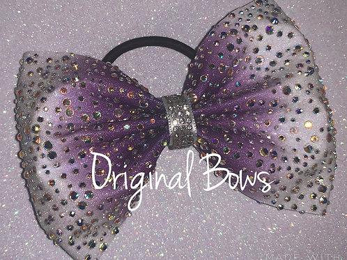 Purple White Ombre Tailless rhinestone Glitter Cheer Bow