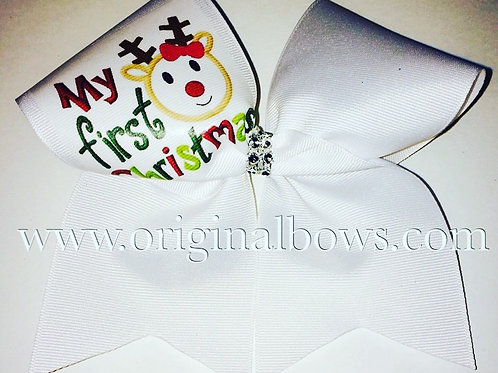 My First Christmas Reindeer White Cheer Bow Christmas