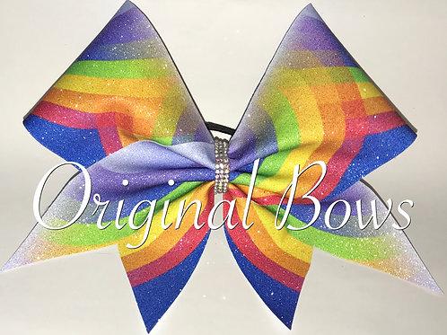 Rainbow on Blue Glitter Cheer Bow
