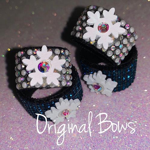 Mini Rhinestone Snowflake Braid hair pony cuffs