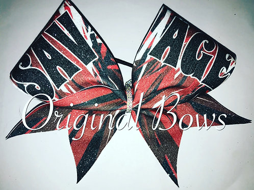 Red Black White SAVAGE Glitter Cheer Bow