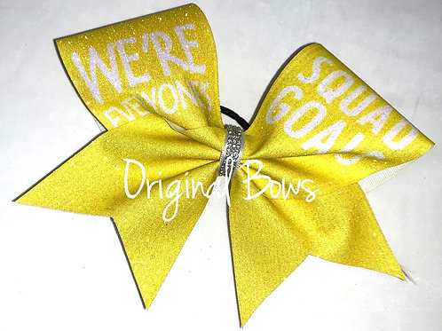 SQuaD GOALS yellow Glitter Cheer Bow