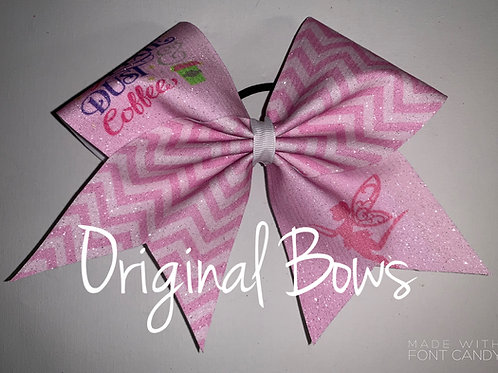 Pixie Dust and coffee Pink chevron glitter Cheer Bow