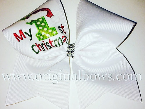 My First Christmas White Cheer Bow Christmas