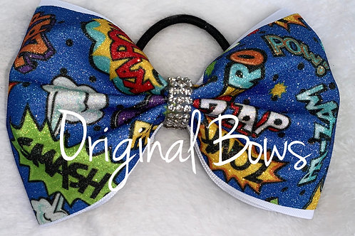 Super Hero Tailless Glitter Bow 4""