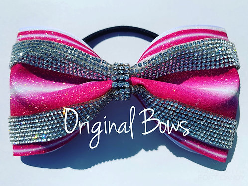 Hot PINK Candy stripes Rhinestone tailless glitter bow