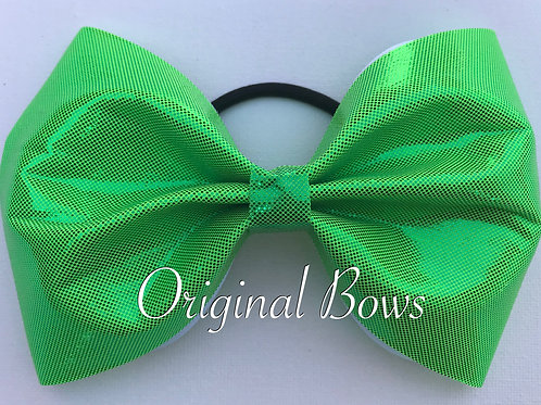 "Lime Green Shimmer 4"" Tailless Bow"