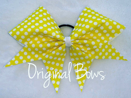 Yellow and White Polka Dots Fabric Cheer Bow