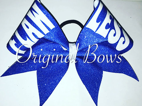Electric Blue FLAWLESS Glitter Cheer Bow
